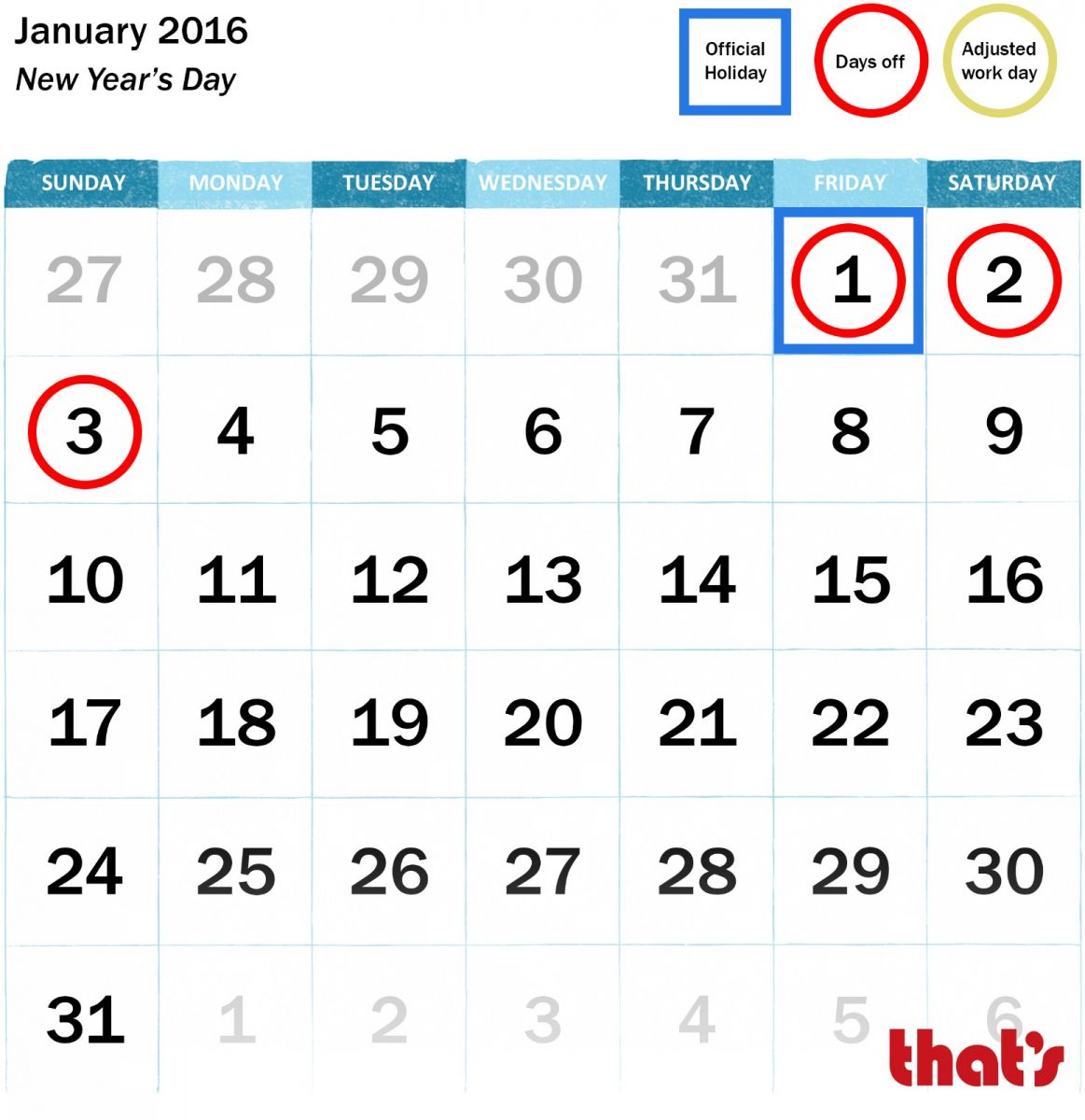 China January public holidays
